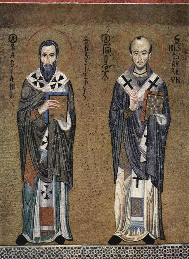 SS Basil and John Chrysostom, c. 1150 (mosaic in the Palatine Chapel, Palermo). (Wikipedia)